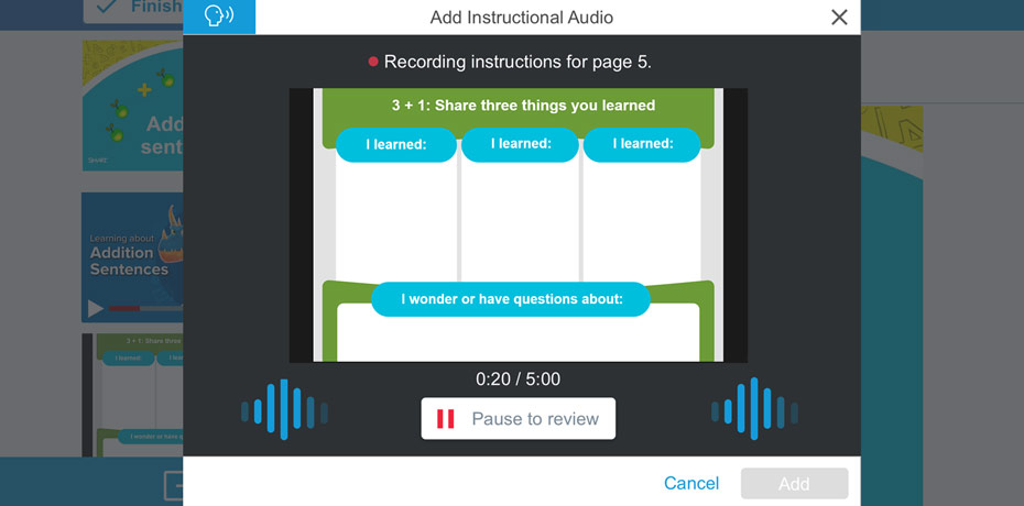 Instructional Audio added to SMART Learning Suite Online
